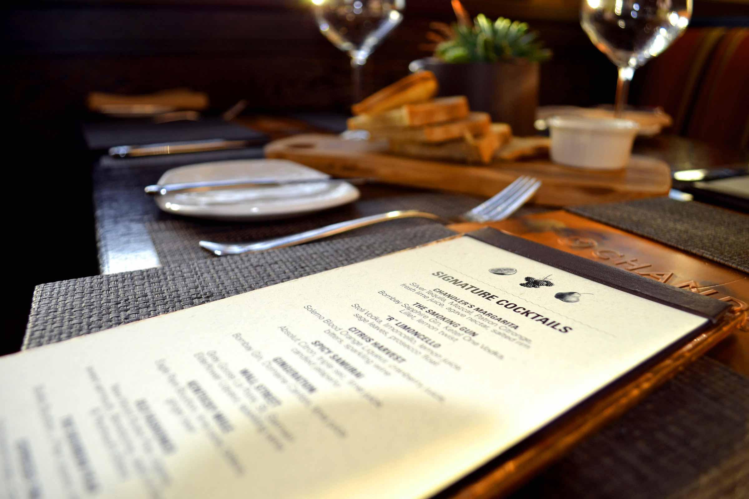 Hilton Chandler's Restaurant Menus