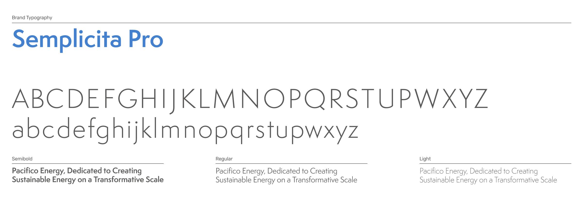 Pacifico Energy Brand Typography